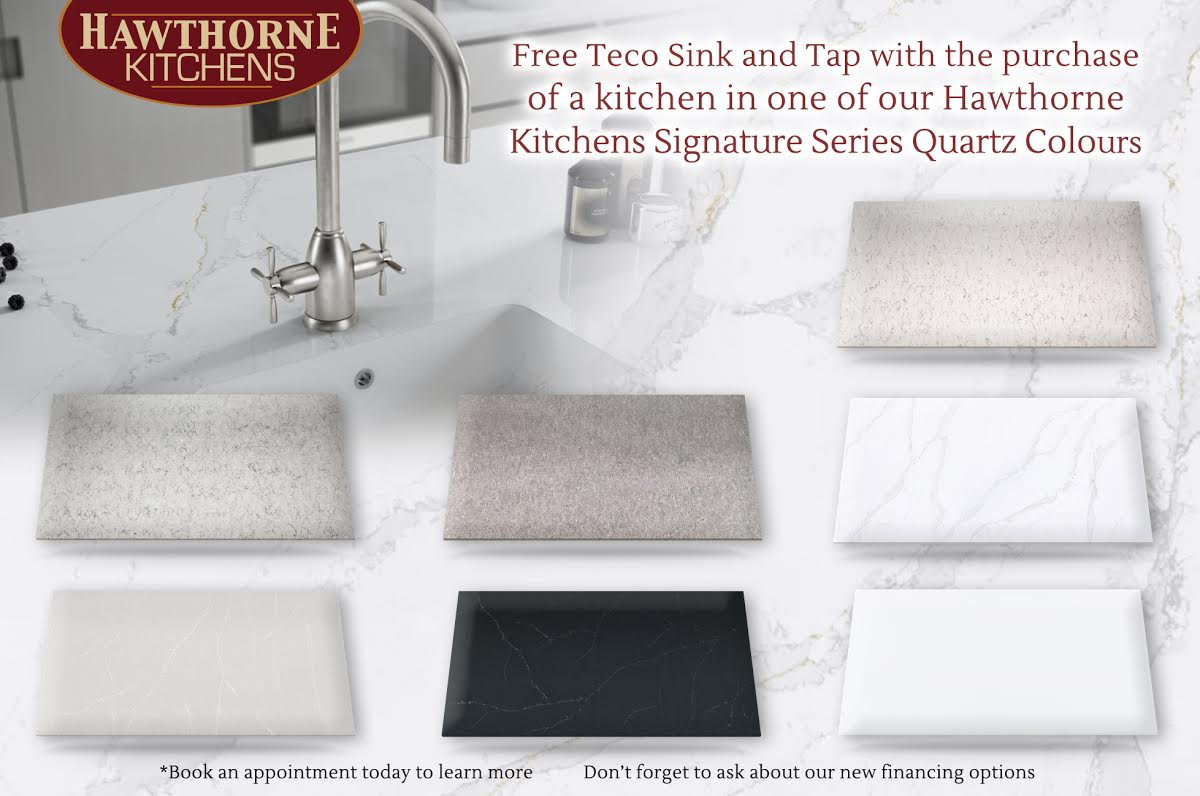 Free Teco Sink and Tap with the purchase of a kitchen in one of our Hawthorne Kitchens Signature Series Quartz Colours